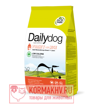 DailyDog ADULT MEDIUM and LARGE BREED LOW CALORIE Turkey and Rice