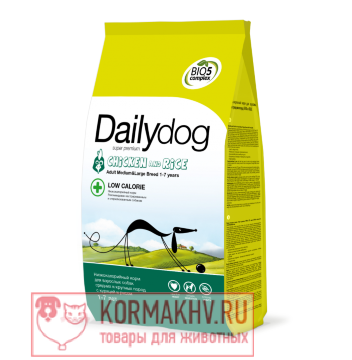 DailyDog ADULT MEDIUM and LARGE BREED LOW CALORIE Chicken and Rice