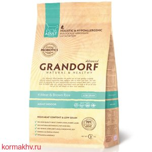 Grandorf Probiotic Indoor 4Meat&BrownRice (4 вида мяса и бурый рис)